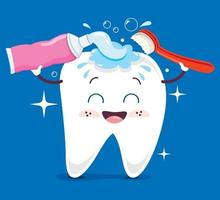 Brushing Teeth Concept With Cartoon Character vector