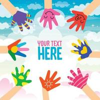 Concept Design With Painted Hands Of Little Children vector