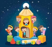 diseño de concepto mágico con niños divertidos vector