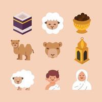 Set of Eid Adha Flat Icons vector