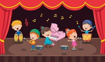 Little Children Performing Music At Stage vector