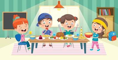 cuatro niños pequeños comiendo en la cocina vector