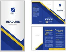 blue Professional business three fold brochure template vector