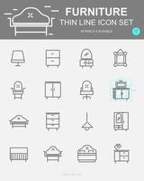 Set of  Furniture Vector Line Icons