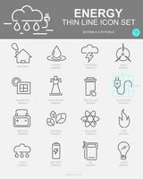 Set of Energy Vector Line Icons