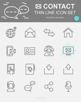 Set of Contact Vector Line Icons