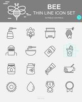 Set of Bee Vector Line Icons