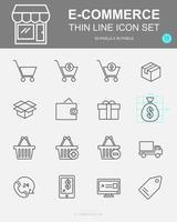 conjunto de iconos de línea de vector de comercio electrónico