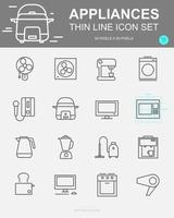 Set of Appliances Vector Line Icons
