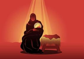 Christmas Theme Mary holding baby Jesus vector