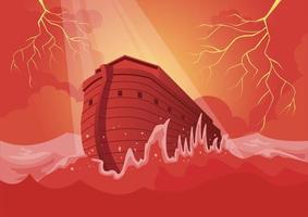 Noahs ark and the great flood vector