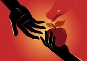 Eve offering apple to Adam vector