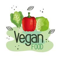 vegan food poster with bell pepper and vegetables vector