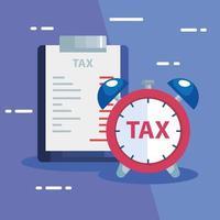 documento de impuesto pagado con despertador vector