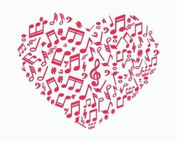 Heart Background Made of Musical Notes vector