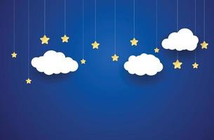Stars and Clouds paper art style vector