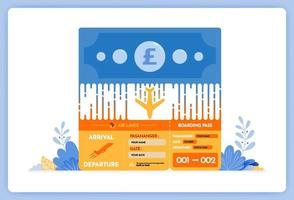 vector illustration of local transaction flight ticket purchase in foreign currency
