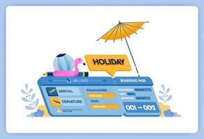 vector illustration of vacation airplane tickets to the island of Bali with departures in Jakarta