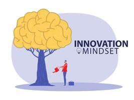 Growing innovation People planting brain growth mindset growth idea concept vector illustrator