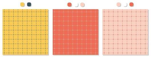 conjunto de tres patrones cuadrados sin costura amarillo azul rojo rosa blanco con puntos vector