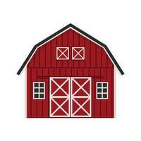 caricatura, garabato, rojo, madera, granero, casa, gris, techo, ventanas, y, puertas, con, cruzado, pizarra vector