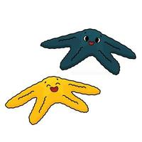 Set of two vector outline cartoon colorful sea stars or Starfish with eyes smile Doodle Marine invertebrates brightly colored in yellow blue Isolated on white background
