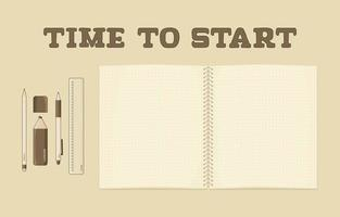Vector set of outline isolated retro exercise book or ring spiral notebook with dots for summary notes as mockup brown pen pencil marker ruler on the table Top view Time to start lettering text