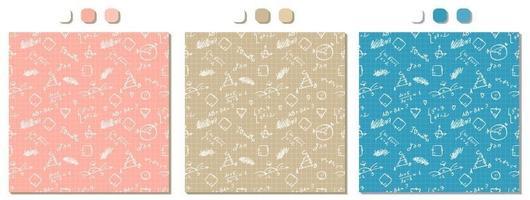 Conjunto de patrones sin fisuras de vector azul beige rosa con fórmulas matemáticas blancas escritas a mano figuras cálculos en papel cuadriculado