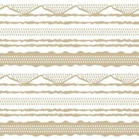 Beige abstract horizontal Seamless repeat border pattern Random rough twisted part of triangles or broken lines zigzags circles or big dots shapes Hand drawn effect on white background vector