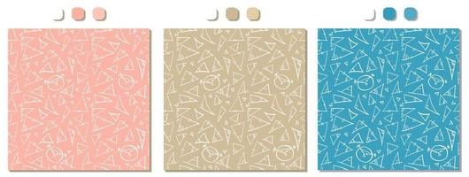 Set of three pink blue beige vector seamless patterns with handwriting math figures triangles and circles calculations handwritings on the squared paper Geometry back to school theme