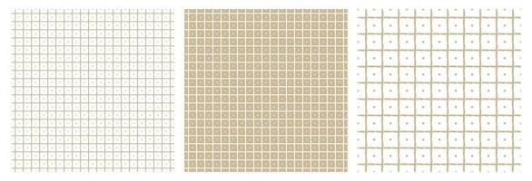 A set of three beige and white geometric patterns Abstract squares and dots inside All lines are distorted vector