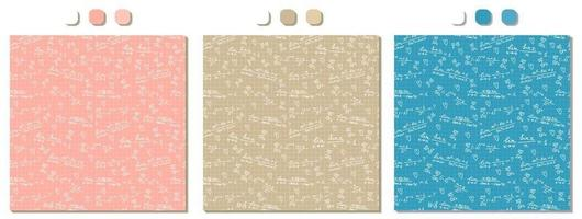 Set of three pink beige blue vector seamless patterns with handwritten white mathematical formulas calculations on squared paper Mathematical analysis limits theme