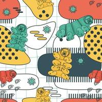 White blue yellow pink colorful repeat seamless pattern of water bears or tardigrades vector