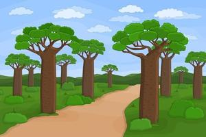 Vector outline African Madagascar baobab street Doodle cartoon hand drawn landscape illustration of trees sky road African plants bushes clouds grass