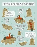 Set of brown tardigrades with reading human and different phrases from water bear Let you dreams come true Let yourself make mistakes Make a wish Create a plan Follow your dream for stickers vector