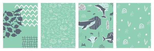 Vector poster ocean sea set with cartoon silhouette whale stingray fish octopus crab and other underwater animals for banner card postcard book notebook cover Collage cut paper effect