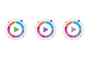 video play button icon in circle diagram vector