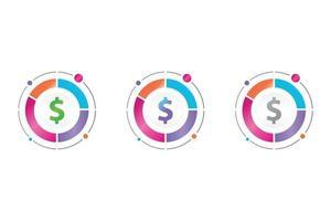 money icon in circle diagram vector