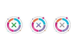delete icon in circle diagram vector