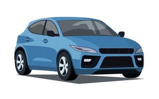 Blue Hatchback Car Illustration vector