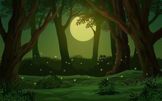 Forest Moonlight Night Illustration vector