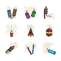 coloridos iconos de fuegos artificiales brillantes vector