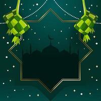 Elegant Green Ketupat Background vector