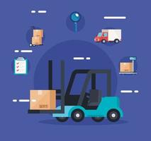 forklift of delivery logistic service and icons vector