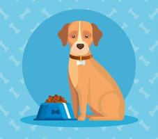 cute dog with dish food animal vector
