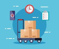 delivery logistic service with boxes and icons vector