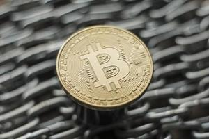 Crypto currency bitcoin on the chain photo