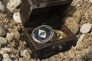 bitcoins and ethereum treasure trove in the chest wallpaper photo
