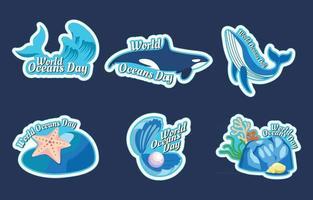 conjunto de pegatinas del día mundial de los océanos vector