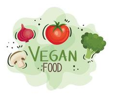 vegan food poster with tomato and vegetables vector